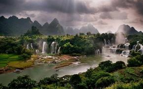 Picture river, waterfalls, Vietnam, river, Vietnam, waterfalls, sunbeam, sunbeams