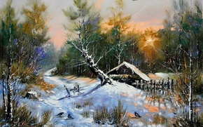 Picture winter, forest, snow, landscape, birds, house, tree, hut, picture, the evening, morning, painting, Khodukov, spatula