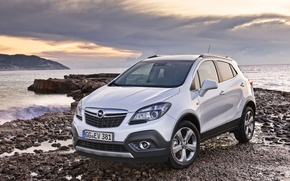 Picture Sunset, The evening, Stones, Desktop, Beautiful, Car, Car, Wallpapers, Wallpaper, Automobiles, The front, Opel Mokka, …