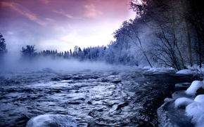 Picture snow, river, Winter, couples