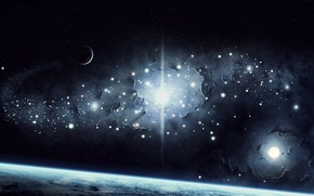 Picture space, stars, surface, light, earth, planet