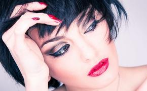 Picture brunette, sensual, makeup