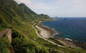 Picture road, sea, mountains, nature, photo, shore, Taiwan