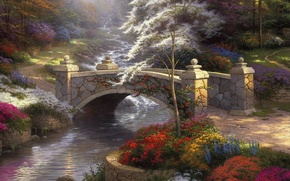 Wallpaper bridge, nature, river, painting, the bridge, nature, bridge, Thomas Kinkade, painting, Thomas Kinkade, colorful, Bridge ...