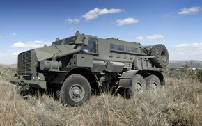Picture grass, slope, Casspir Mk6, on the basis of the Ural 4320, Armored car