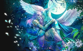 Wallpaper perfect world, night, wings, elves
