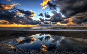 Picture sea, the sky, clouds, sunset, reflection, the evening, Italy, porto clementino