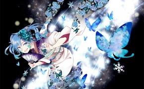 Wallpaper flowers, art, kagerou project, maiori 00, roses, anime, Mekakucity Actors, fan, kimono, girl, butterfly, ene