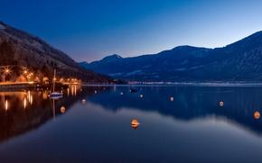 Wallpaper Switzerland, lake, night