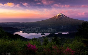 Picture mountain, morning, Japan, Fuji, the first rays, stratovolcano, Mount Fuji, the island of Honshu