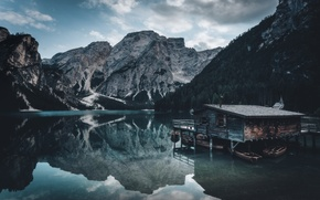 Picture Italy, Dolomiti, boat house, The lake of Braies