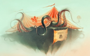 Picture octopus, ladder, poster, art, circus, tent, balloons