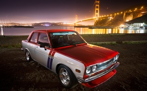 Picture red, Datsun, 510, withe