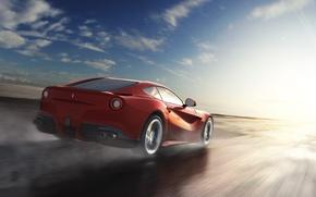 Picture The sun, The sky, Water, Red, Clouds, Wheel, Speed, Ferrari, Ass, Rain, Ferrari, Red, Lights, …