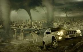Wallpaper the city, disaster, SUV, tornado