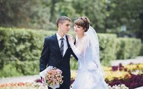 Picture bouquet, hugs, lovers, the bride, wedding, beautiful, lovers, the groom, wedding, bride, embrace, groom
