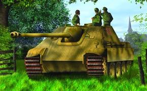 Picture war, art, painting, Jagdpanther, tank, ww2