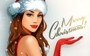 Picture look, girl, holiday, vector, gloves, Merry Christmas