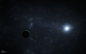 Picture space, planet, comet, space, infinity
