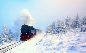 Picture winter, forest, snow, train, the engine