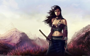 Wallpaper mountains, art, the wind, aldo martinez calzadilla, girl, katana, sword, grass, landscape
