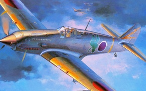 Picture war, figure, fighter, art, kawasaki, Tony, Hien, ki-61