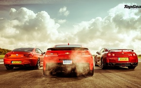Picture Top Gear, Red, Cars, BMW M6, Nissan GT-R, Track, Rear, Chevrolet Camaro Z28