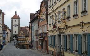 Wallpaper watch, Germany, home, arch, area, street, Rothenburg Ob der Tauber, Plansin, tower Siebersturm, Bayern