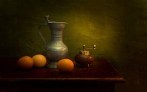 Picture eggs, pitcher, still life, pepper grinder, A Dutch insperation
