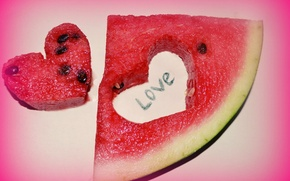 Picture heart, watermelon, slice, fishing