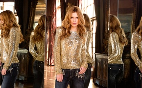Wallpaper reflection, model, Shine, jeans, advertising, actress, hairstyle, blouse, red, mirror, photoshoot, brand, Bella Thorne, Bella ...