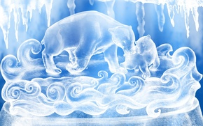 Wallpaper white, snow, blue, figure, Bears