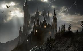 Picture the storm, art, castle, transylvania