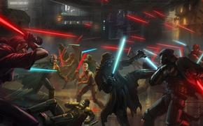 Picture Star Wars, art, battle, lightsaber