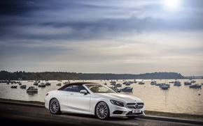 Picture road, auto, the sky, water, Mercedes-Benz, boats, Cabriolet, S 500, AMG line