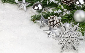 Picture stars, snow, balls, branch, New Year, Christmas, the scenery, Christmas, snowflake, New Year, Christmas