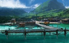 Wallpaper sea, landscape, bridge, tropics, island, home, boats, hill, art