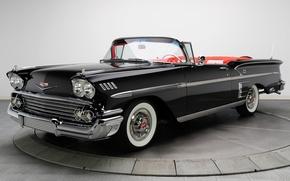 Picture retro, black, Chevrolet, convertible, Impala, 1958