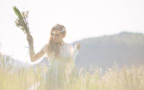 Picture field, grass, girl, dress