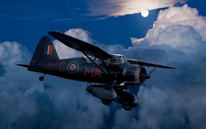 Picture the sky, night, the moon, figure, art, the plane, British, multipurpose, WW2, Lysander, Lysander, scout/ …