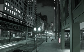 Picture night, the city, lights, street, skyscrapers, Chicago, Chicago