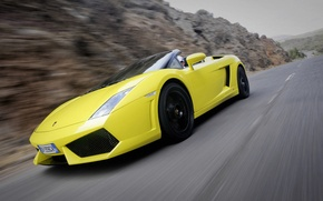 Picture road, movement, convertible, side view, spider, Lamborghini, Gallardo, lamborghini gallardo lp560-4 spyder