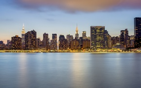 Picture lights, lights, reflection, New York, Manhattan, New York, Manhattan, Chrysler Building, reflection, The Empire State …