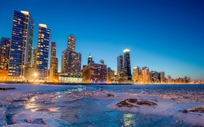 Picture winter, ice, Bay, Chicago, night city, Chicago, skyscrapers