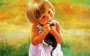Picture kitty, figure, child, girl, painting