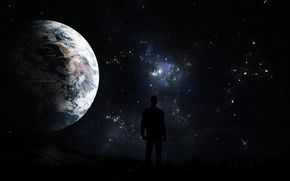 Picture the sky, space, night, planet, unexplored dreams