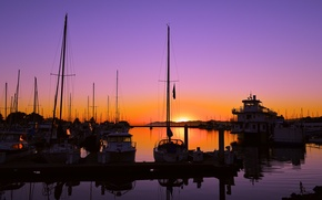 Picture sea, the sky, sunset, yachts, boats, harbour