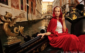 Picture girl, red, boat