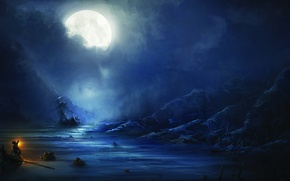 Picture sea, night, people, the moon, ship, Assassin's Creed III, Assassin's creed 3