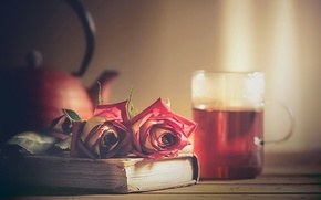 Picture tea, rose, book